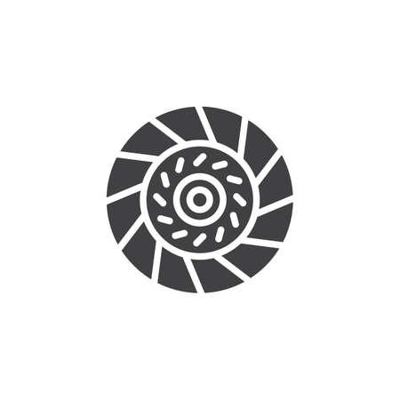 Icona di vettore del piatto frizione auto. segno piatto riempito per il concetto mobile e il web design. Icona del glifo con piastra pressione frizione auto. Simbolo, illustrazione del logo. Grafica vettoriale pixel perfetta