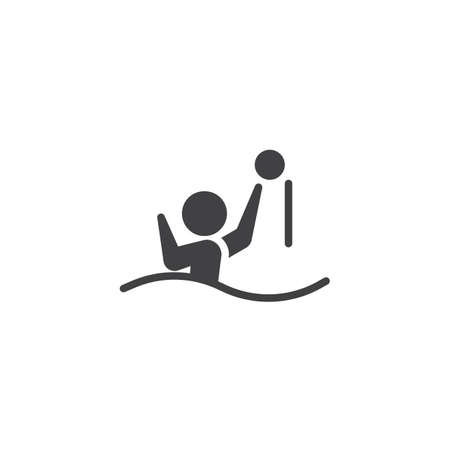 Water polo player vector icon. filled flat sign for mobile concept and web design. Athlete playing water polo glyph icon. Summer sports game symbol, logo illustration. Pixel perfect vector