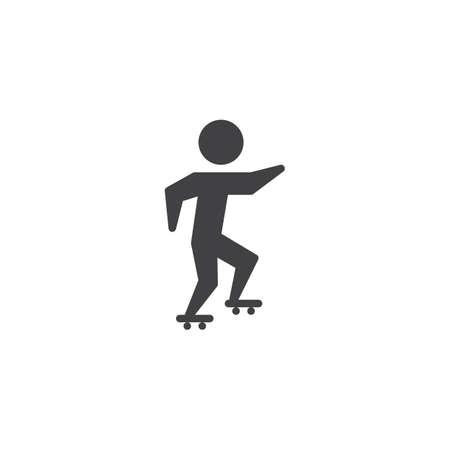 Icono de vector de patinaje sobre ruedas. signo plano lleno para concepto móvil y diseño web. Atleta en icono de glifo de skate. Símbolo de deportes de verano, ilustración del logo. Gráficos vectoriales perfectos para píxeles