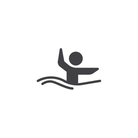 Synchronized swimming athlete vector icon. filled flat sign for mobile concept and web design. Water sports glyph icon. Symbol, logo illustration. Pixel perfect vector graphics  イラスト・ベクター素材