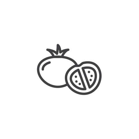Tomatoes whole and a half line icon. linear style sign for mobile concept and web design. Sliced tomato, vegetable outline vector icon. Healthy food symbol, logo illustration. Pixel perfect vector
