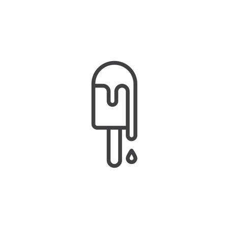 Ice cream stick line icon. linear style sign for mobile concept and web design. Popsicle outline vector icon. Dessert snack symbol, logo illustration. Pixel perfect vector graphics