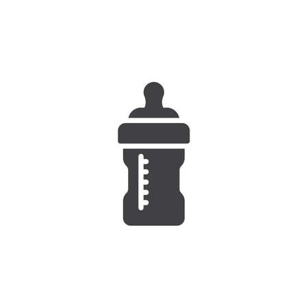 Baby milk bottle vector icon. filled flat sign for mobile concept and web design. Feeding bottle glyph icon. Symbol, logo illustration. Pixel perfect vector graphics Иллюстрация
