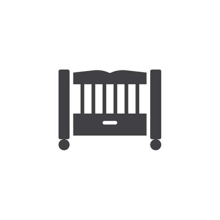 Baby bed vector icon. filled flat sign for mobile concept and web design. Baby crib glyph icon. Child cradle symbol, logo illustration. Pixel perfect vector graphics Illustration