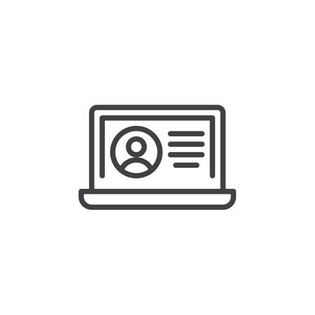 Profile card line icon. Personal data with laptop linear style sign for mobile concept and web design. Account info outline vector icon. Symbol, logo illustration. Pixel perfect vector graphics Illustration