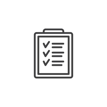 Icône de ligne de presse-papiers de liste de contrôle. Pour faire la liste des signes de style linéaire pour le concept mobile et la conception Web. Prendre note de l'icône de vecteur de contour. Symbole, illustration du logo. Pixel graphiques vectoriels parfaits Logo