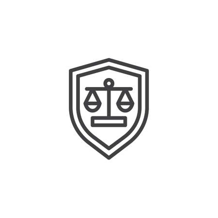Law shield line icon. linear style sign for mobile concept and web design. Protection shield with Justice scales outline vector icon. Symbol, logo illustration. Pixel perfect vector graphics