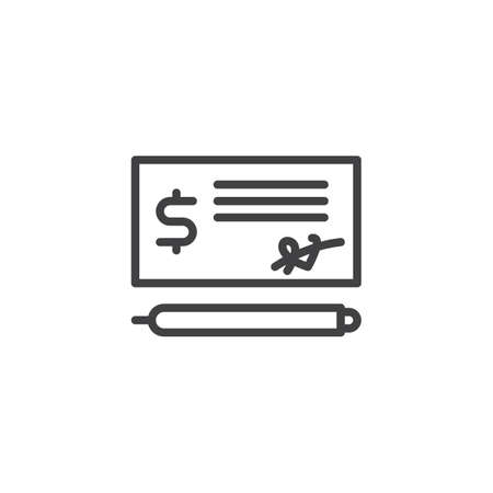 Bank check payment line icon. Money check and pen linear style sign for mobile concept and web design. Cheque outline vector icon. Symbol, logo illustration. Pixel perfect vector graphics