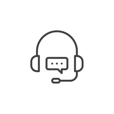 Support Customer Service chat line icon. linear style sign for mobile concept and web design. Headset Speech Bubble outline vector icon. Symbol, logo illustration. Pixel perfect vector graphics