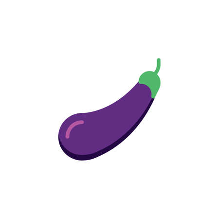 Eggplant, vegetable flat icon, vector sign, One eggplant colorful pictogram isolated on white. Symbol, logo illustration. Flat style design
