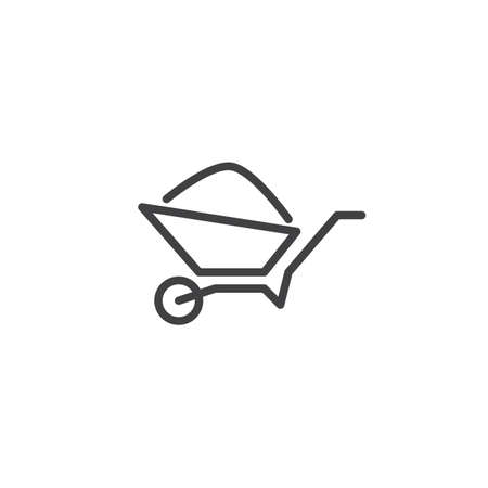 Wheelbarrow Cart line icon. linear style sign for mobile concept and web design. Garden trolley with soil outline vector icon. Gardening symbol, logo illustration. Pixel perfect vector graphics