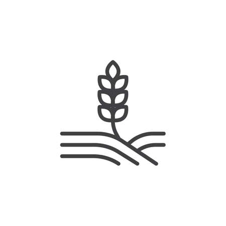 Wheat field line icon. linear style sign for mobile concept and web design. Ear of wheat growing in the field outline vector icon. Agriculture symbol, logo illustration. Pixel perfect vector graphics 矢量图像