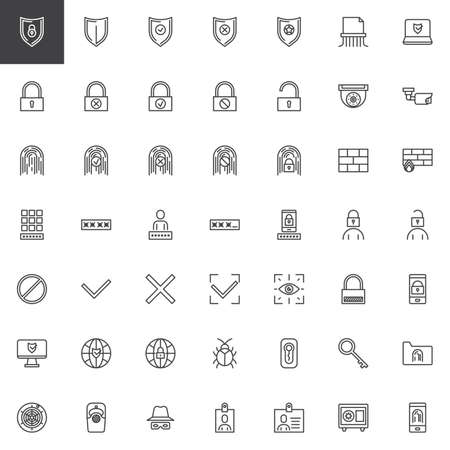 Cyber security line icons set. linear style symbols collection, outline signs pack. vector graphics. Set includes icons as mobile phone fingerprint scan, computer virus security shield, password code