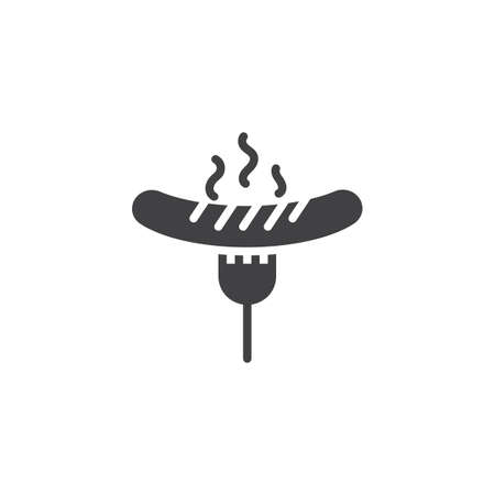 Grilled sausage on fork vector icon. filled flat sign for mobile concept and web design. Cooked hot dog on bbq fork glyph icon. Symbol, logo illustration. Pixel perfect vector graphics