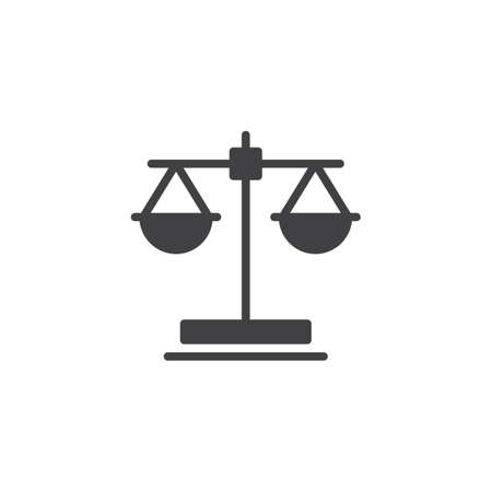 Law scale vector icon. filled flat sign for mobile concept and web design. Balance scales glyph icon. Libra, judges symbol, logo illustration. Pixel perfect vector graphics Illustration
