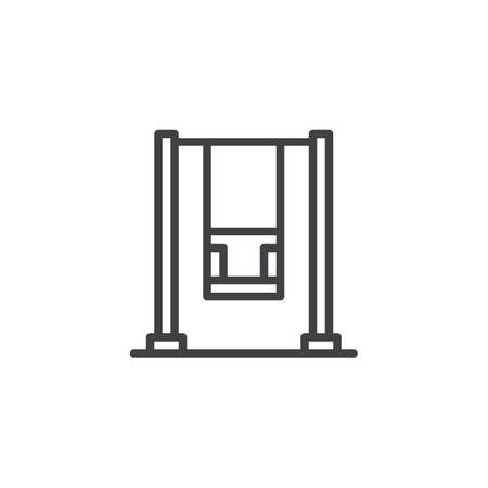 Playground swing line icon. linear style sign for mobile concept and web design. Swing outline vector icon. Recreation symbol, logo illustration. Pixel perfect vector graphics 矢量图像