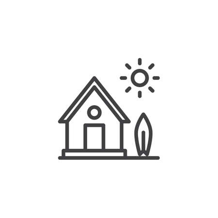 Country house with tree and sun line icon. Home linear style sign for mobile concept and web design. Farm House outline vector icon. Symbol, logo illustration. Pixel perfect vector graphics Illustration