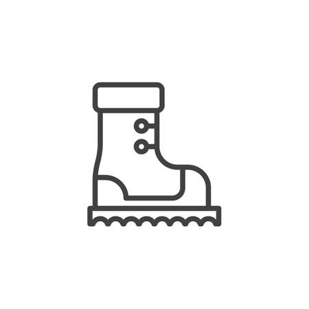 Mountain climbing boots line icon. linear style sign for mobile concept and web design. Hiking shoe outline vector icon. Symbol, logo illustration. Pixel perfect vector graphics