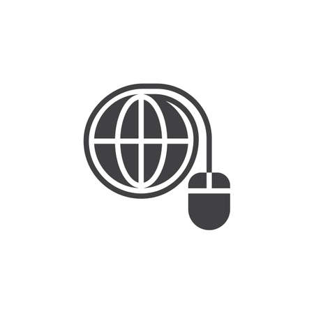 World connection vector icon. filled flat sign for mobile concept and web design. Computer mouse connected to globe glyph icon. Internet symbol, logo illustration. Pixel perfect vector graphics Illustration