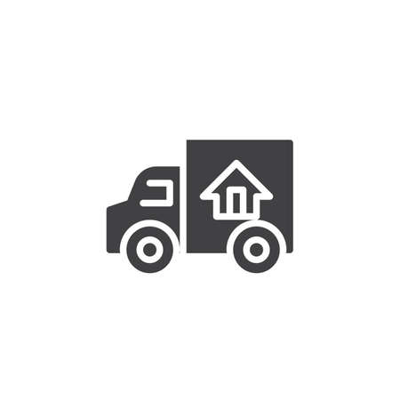 Door to door delivery vector icon. Truck transporting a house filled flat sign for mobile concept and web design. Fast shipping delivery truck glyph icon. Symbol, logo illustration.