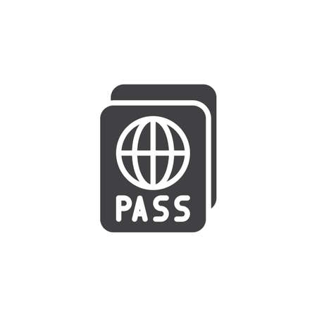International passport vector icon. Personal document filled flat sign for mobile concept and web design. World Pass glyph icon. Symbol, logo illustration. Pixel perfect vector graphics Illustration