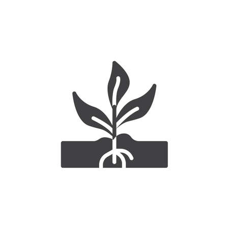 Sprout growing out from soil vector icon. filled flat sign for mobile concept and web design. Growing plant with root glyph icon. Gardening, agriculture symbol, logo illustration. Pixel perfect