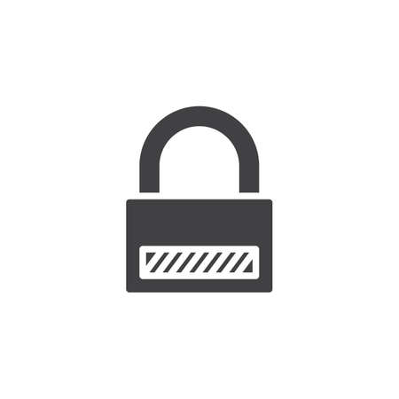Locked padlock vector icon. filled flat sign for mobile concept and web design. Password lock glyph icon. Security symbol, logo illustration. Pixel perfect vector graphics Imagens - 120320436