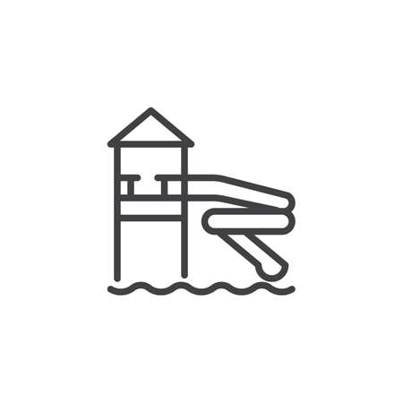 Water park slide line icon. linear style sign for mobile concept and web design. Water slide in aqua park outline vector icon. Symbol, logo illustration. Pixel perfect vector graphics Illustration