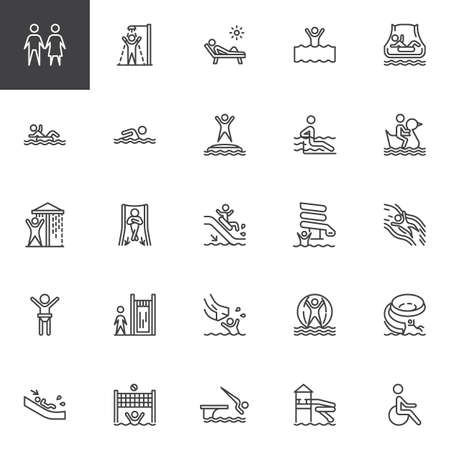 Water park slides line icons set. linear style symbols collection, outline signs pack. vector graphics. Set includes icons as aqua park swimming pool, sunbathing , summer vacations, walking ball