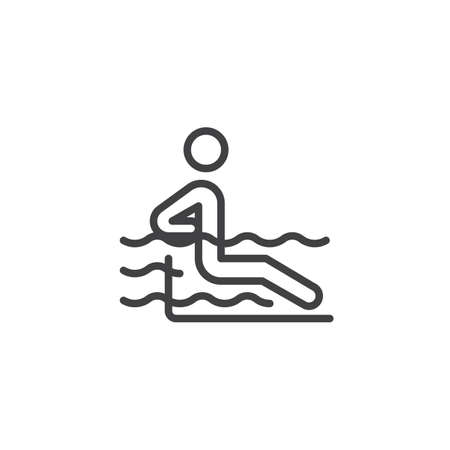 Man in a swimming pool line icon. linear style sign for mobile concept and web design. Man relax hydromassage bathing outline vector icon. Symbol, logo illustration. Pixel perfect vector graphics Ilustração