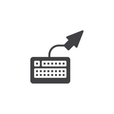 Computer keyboard and arrow vector icon. filled flat sign for mobile concept and web design. Data control glyph icon. Symbol, logo illustration. Pixel perfect vector graphics
