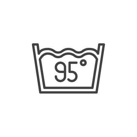 Water temperature 95 degree vector icon. filled flat sign for mobile concept and web design. Wash machine sign glyph icon. Laundry symbol, logo illustration. Pixel perfect vector graphics Ilustração