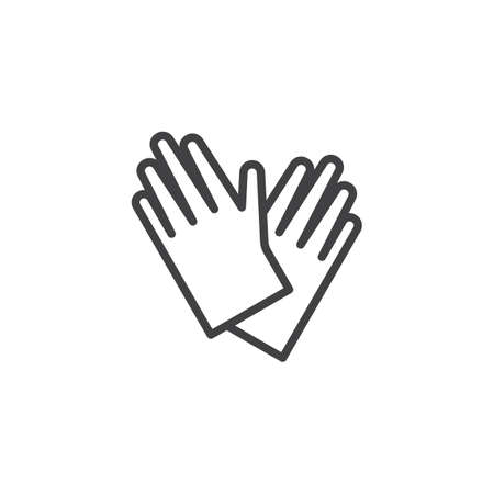 Protective gloves line icon. linear style sign for mobile concept and web design. Hand protection outline vector icon. Symbol, logo illustration. Pixel perfect vector graphics