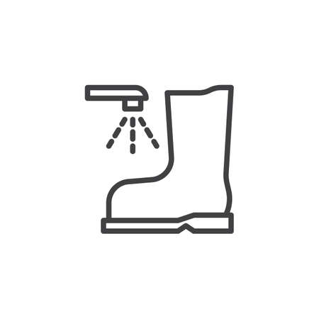 Wash your shoes line icon. linear style sign for mobile concept and web design. Boot wash outline vector icon. Mandatory sign symbol, logo illustration. Pixel perfect vector graphics Logo