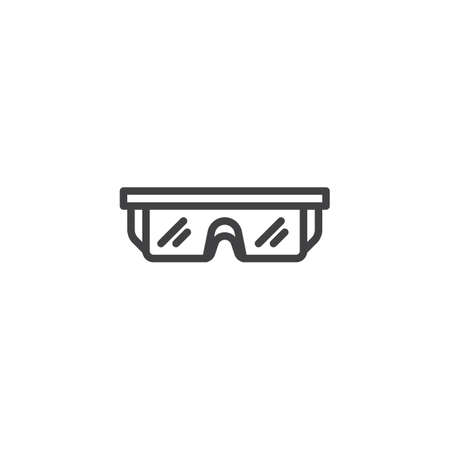 Safety glasses line icon. Eye protection linear style sign for mobile concept and web design. Protective eyewear outline vector icon. Symbol, logo illustration. Pixel perfect vector graphics