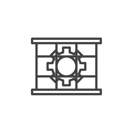 Guards must be in place line icon. Use guard linear style sign for mobile concept and web design. Gear and lattice outline vector icon. Mandatory symbol, logo illustration. Pixel perfect vector Ilustrace