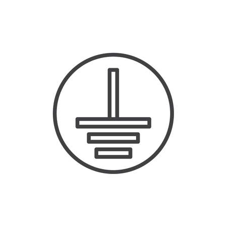 Electric grounding line icon. Protective Earth Ground linear style sign for mobile concept and web design. Ground terminal outline vector icon. Mandatory symbol, logo illustration. Pixel perfect Illustration