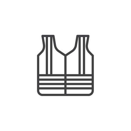 Safety vest line icon. linear style sign for mobile concept and web design. Life jacket outline vector icon. Mandatory symbol, logo illustration. Pixel perfect vector graphics