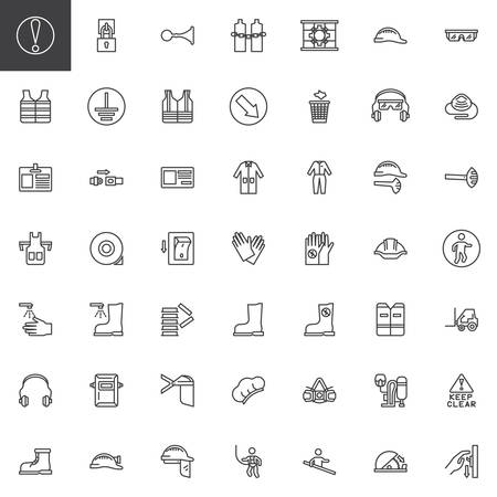 Mandatory, safety signs line icons set. linear style symbols collection, outline signs pack. vector graphics. Set includes icons as International standard symbols, safety helmet, protective workwear