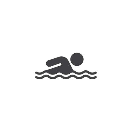 Swimmer in water vector icon. filled flat sign for mobile concept and web design. Swimming man in swimming pool glyph icon. Symbol, logo illustration. Pixel perfect vector graphics