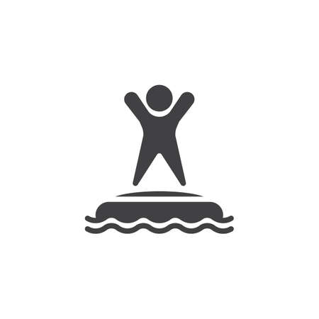 Man in water park trampoline vector icon. filled flat sign for mobile concept and web design. Summer aquapark trampoline glyph icon. Symbol, logo illustration. Pixel perfect vector graphics