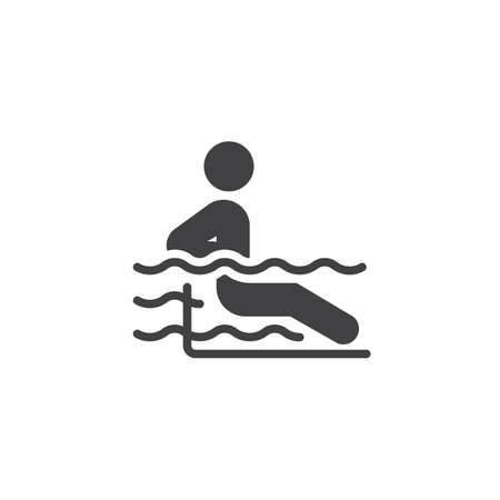 Man in a swimming pool vector icon. filled flat sign for mobile concept and web design. Man relax hydromassage bathing glyph icon. Symbol, logo illustration. Pixel perfect vector graphics