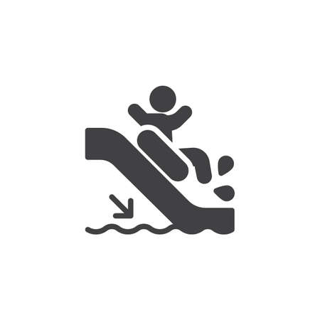 El hombre se desliza hacia abajo en el icono de vector de tobogán de agua. signo plano lleno para concepto móvil y diseño web. Icono de glifo de tobogán acuático Aquapark. Símbolo, ilustración de logotipo. Gráficos vectoriales perfectos para píxeles