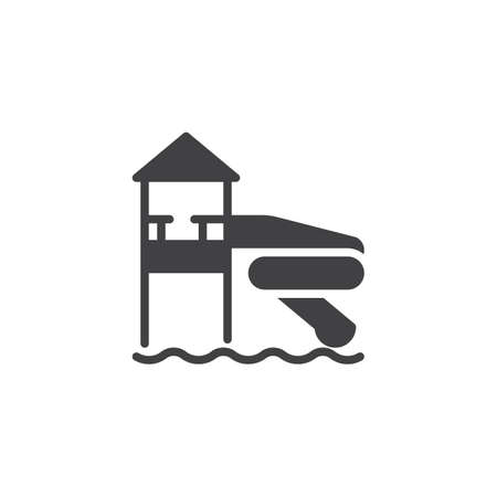 Water park slide vector icon. filled flat sign for mobile concept and web design. Water slide in aqua park glyph icon. Symbol, logo illustration. Pixel perfect vector graphics Illustration