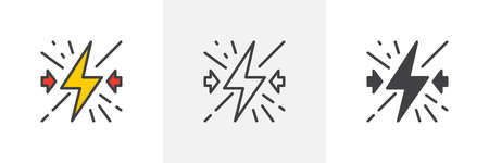 Conflict icon. Line, glyph and filled outline colorful version, Lightning bolt outline and filled vector sign. Symbol, logo illustration. Different style icons set. Vector graphics