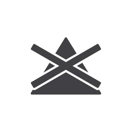 Non candeggiare, lavare l'icona del vettore del segno della macchina. segno piatto riempito per il concetto mobile e il web design. Icona del glifo con istruzioni di lavanderia a gettoni. Simbolo, illustrazione del logo. Grafica vettoriale pixel perfetta