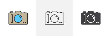 Photo camera icon. Line, glyph and filled outline colorful version, Digital Camera outline and filled vector sign. Symbol, logo illustration. Different style icons set. Vector graphics 일러스트