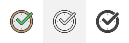 Check mark on clock icon. Line, glyph and filled outline colorful version, real time protection outline and filled vector sign. Symbol, logo illustration. Different style icons set. Vector graphics