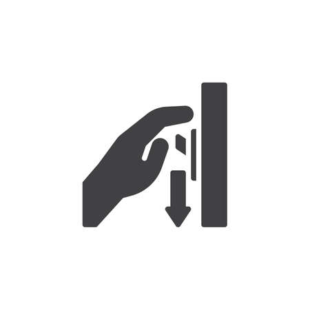 Switch off after use vector icon. Hand turning off the light filled flat sign for mobile concept and web design. Toggle switch glyph icon. Mandatory symbol, logo illustration. Pixel perfect vector Ilustração