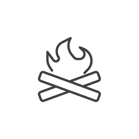 Camp Fire line icon. Bonfire linear style sign for mobile concept and web design. Campfire with Firewood outline vector icon. Camping symbol, logo illustration. Pixel perfect vector graphics